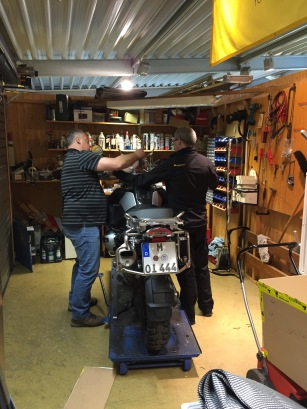 bike prep at Touratech Sued
