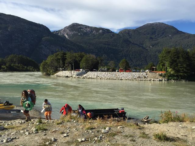 crossing river for glacier tour