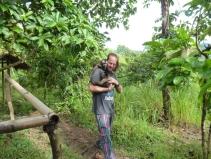 Elton with monkeys