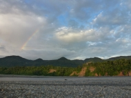 rainbow near loam wall