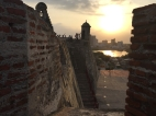 sunset at fort in Cartagena